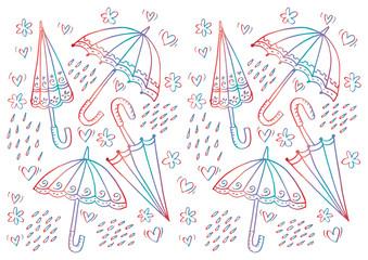 Umbrella doodle pattern background