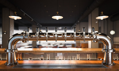 Restaurant with a beer taps. 3d rendering