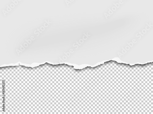 Torn a half sheet of white paper from the bottom. Isolated on ...