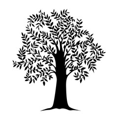 illustration of black tree with leaves, isolated nature symbol, silhouette sign vector