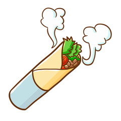 Funny and yummy hot kebab ready to eat - vector.