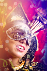 Brunette wearing carnival costume