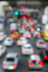 Traffic jam lights cars on road in rush hour for Bangkok city, Thailand. abstract blur background