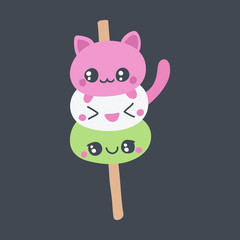 Dango or mochi vector doodle illustration