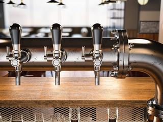 Beer taps in the loft restaurant. 3d rendering