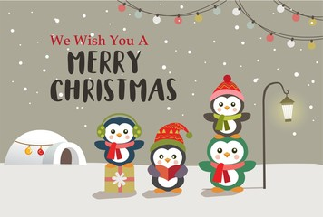 Christmas background design with cartoon penguin. Vector illustration.
