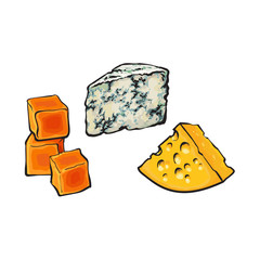 vector sketch wedge of soft blue cheese with mold, cubics of hard cheddar and emmental cheese with holes set for your design. Isolated illustration on a white background.