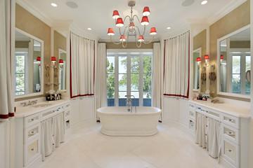 Master bath with freestanding bathtub