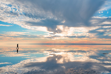 Amazing sunset over the Salt Lake in Ankara