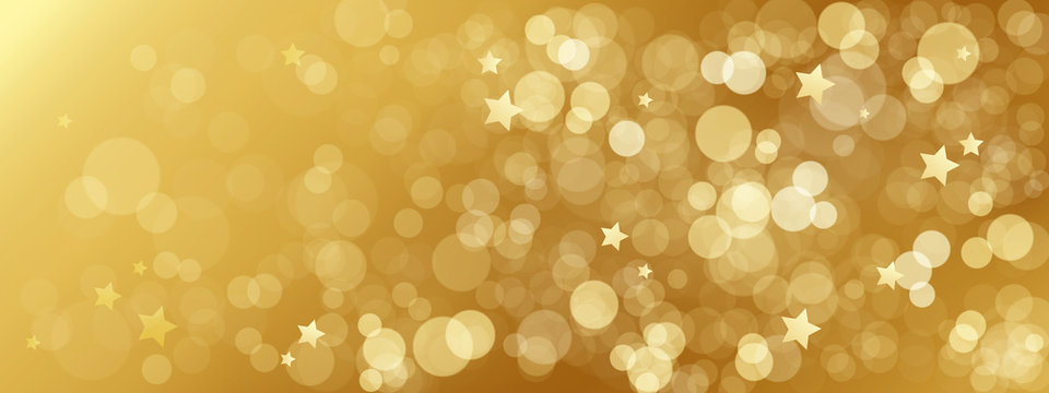 BRIGHT GOLD BOKEH LIGHTS Background with stars