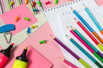 Stationery colored pencils, markers, notebooks and various accessories for office and school