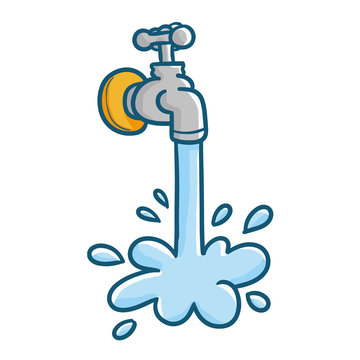 Funny and cute tap water - vector.
