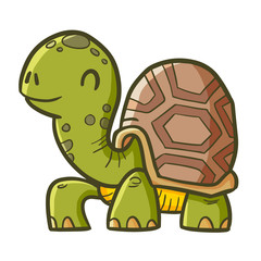 Cool and funny old turtle walking happily - vector.
