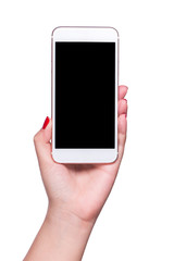 Modern smartphone in female hand isolated on white background