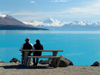 Pukaki lake in New Zealand