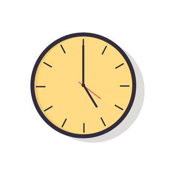 Yellow Clock Isolated on Vector Illustration