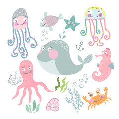 Sea life set. Hand drawn algae, fish, jellyfish, crab, whale, starfish, seahorse, octopus, shell, cancer. Colorful childish cartoon vector illustration collection.
