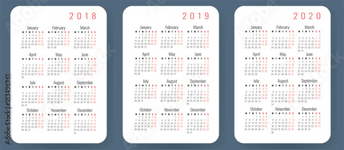 2020 2018 Pocket Calendar Pocket calendar template 2018, 2019, 2020, Monday