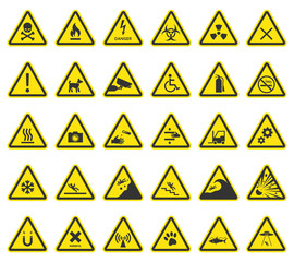 hazard warning signs, caution icons