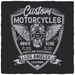 Vintage label design with lettering composition on dark background. Motorcycles theme