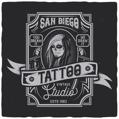 Vintage label design with lettering composition on dark background. Tattoo theme