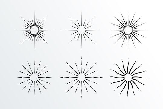 Set of Abstract Sunbrust Element, Firework icon