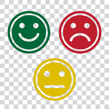 Green, red and yellow face icons on transparent background. Positive, negative and neutra mood. Vector illustration
