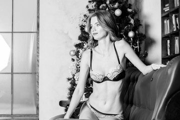 Beautiful young woman in sexual vintage lingerie posing in Christmas decorations. Sexy girl in Christmas. Beautiful Snow Maiden. Girl in vintage bra near the Christmas tree.