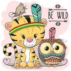 Cute Cartoon tribal Tiger and owl