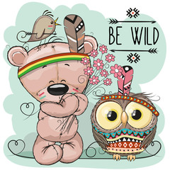 Cute Cartoon tribal Teddy Bear and owl