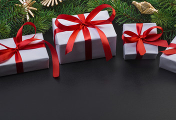 Christmas tree branch and gift boxes