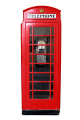 Typical English style vintage telephone booth isolated on white background