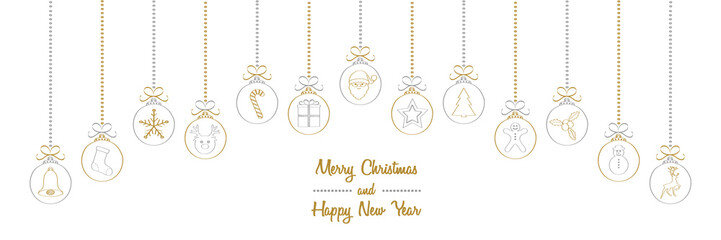 Merry Christmas - wishes with different hand drawn baubles. Vector.