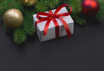 Christmas tree branch and gift box