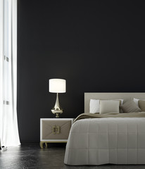 The interor design of bedroom and black concrete wall background / 3D rendering new model