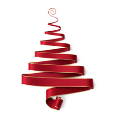 Christmas tree made of red ribbon with gold boarder and curl on top