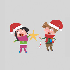 Children holding Christmas ornaments  Isolate. Easy background remove. Easy color change. Easy combine! For custom illustration contact me.
