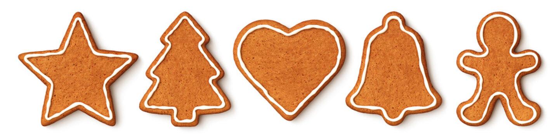 Set of christmas cookies - star - christmas tree - heart - bell - gingerbread man