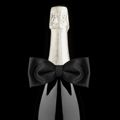 Champagne Bottle with Bow Tie Closeup