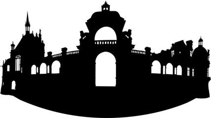 城の正門のシルエット