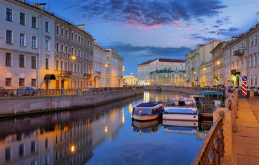 Moika river before dawn in St. Petersburg