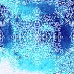 Mandala on watercolor background