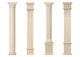 Set vintage classic wood carved architectural columns with ornament for interior or facade. Joinery elements or balusters. Vector graphics Fototapete
