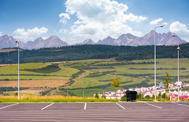 parking lot with view on High Tatra mountains. beautiful Slovakia countryside scenery in summer