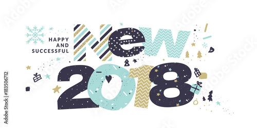 New year 2018 greeting card flat design vector illustration new year 2018 greeting card flat design vector illustration template for greeting cards website m4hsunfo