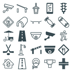 Set of 25 street filled and outline icons