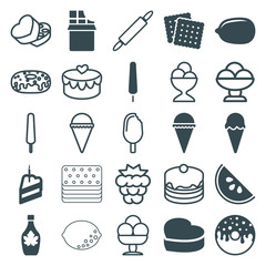 Set of 25 dessert filled and outline icons