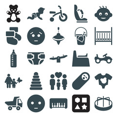 Set of 25 child filled icons