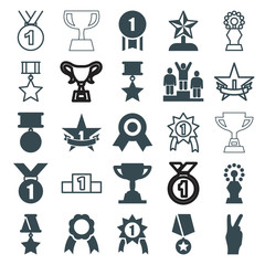 Set of 25 victory filled and outline icons