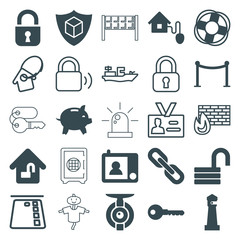 Set of 25 security filled and outline icons
